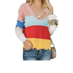 Sweaters - Color block frayed hem sweater NWOT Size S